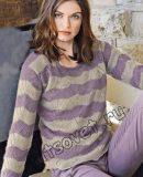 Пуловер в полоску спицами, фото.