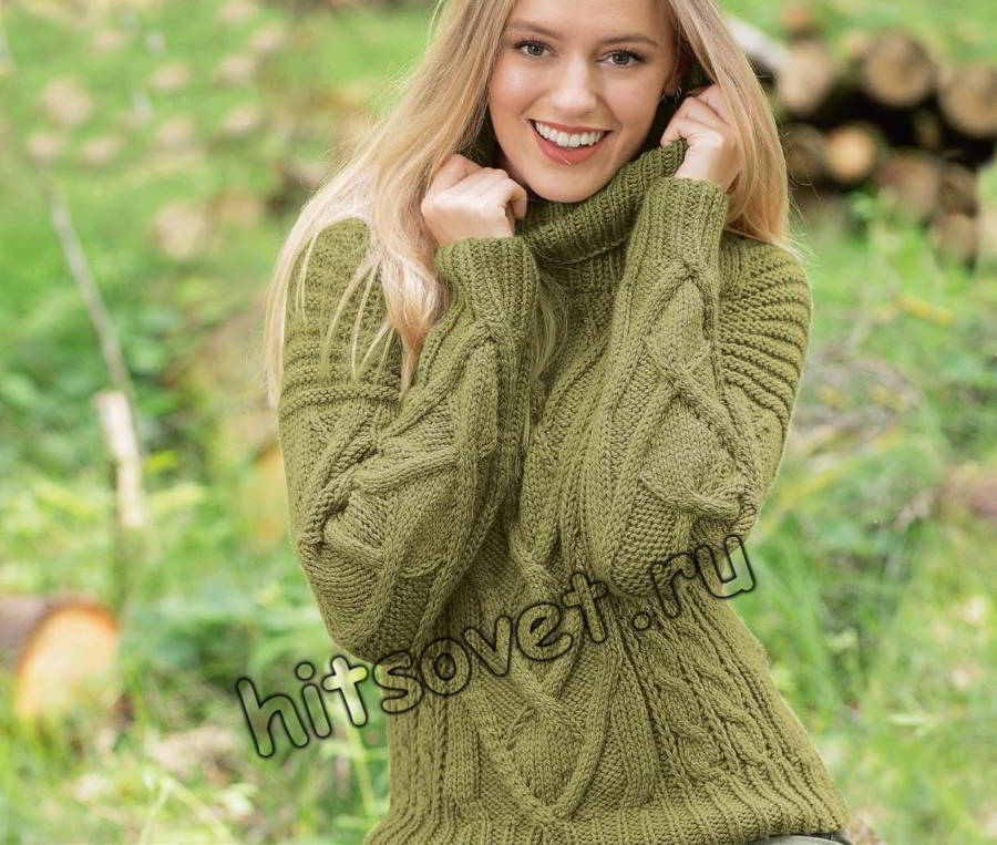 Вязание спицами модного свитера