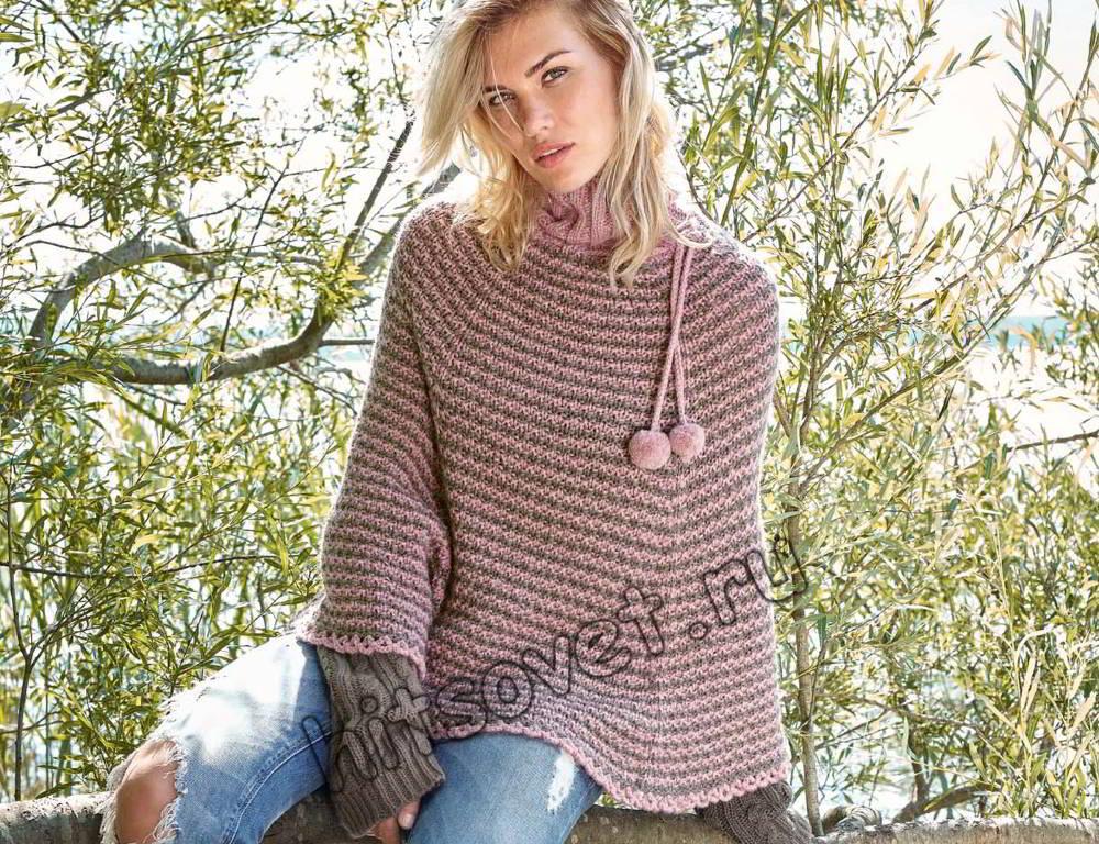 Модное пончо вязаное, фото.