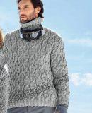 Мужской свитер с горлом, фото.
