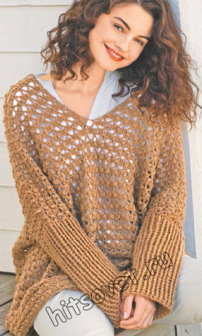 Пуловер оверсайз крючком, фото.
