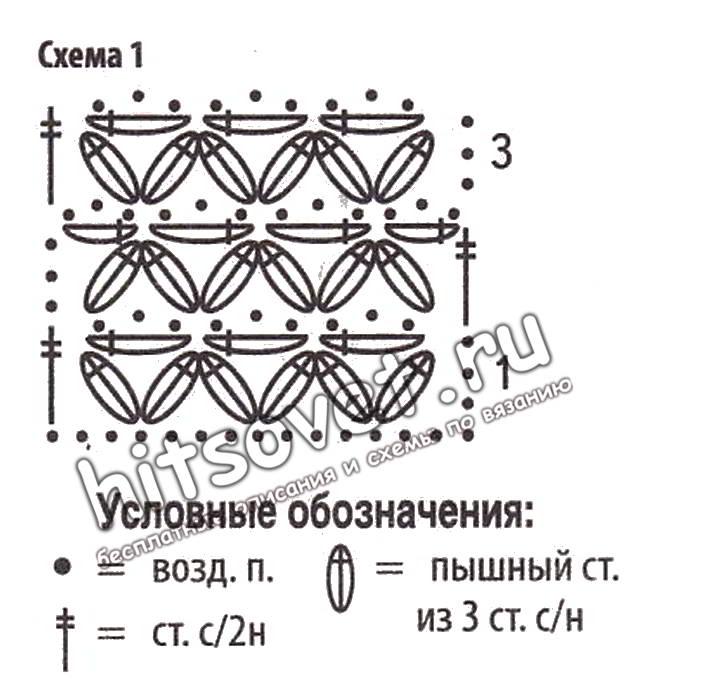 Схемы шарфов из пышных столбиков