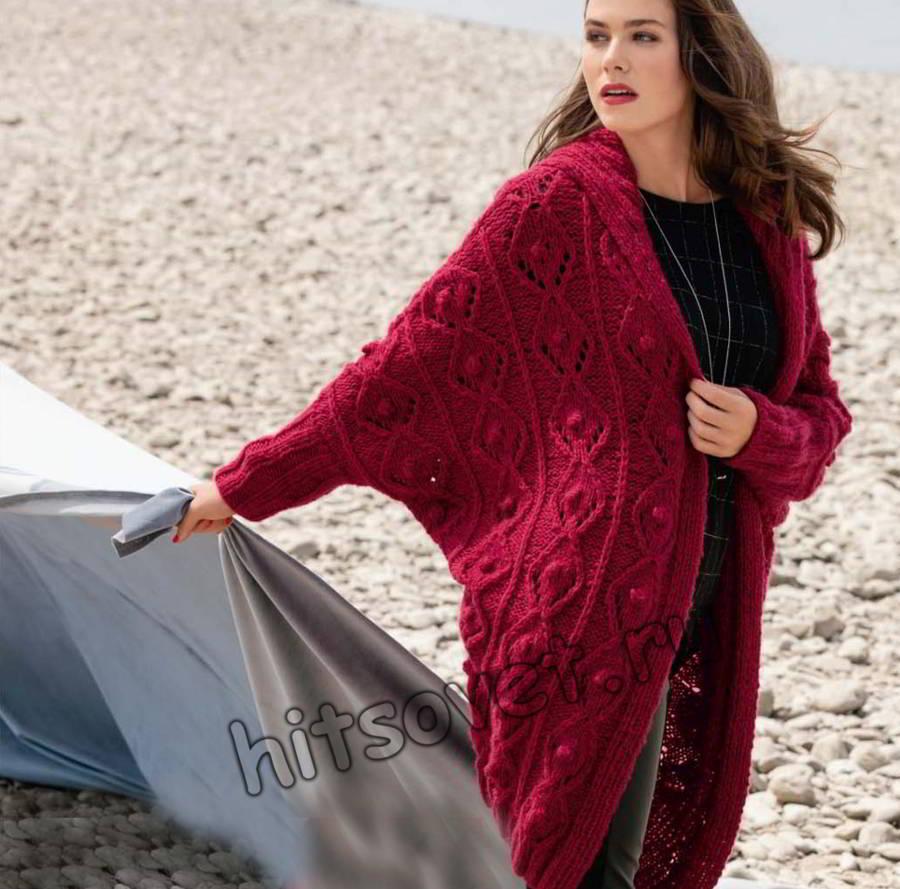 Вязаное пальто оверсайз, фото.