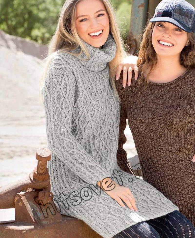 Вязаное платье с горлом, фото.