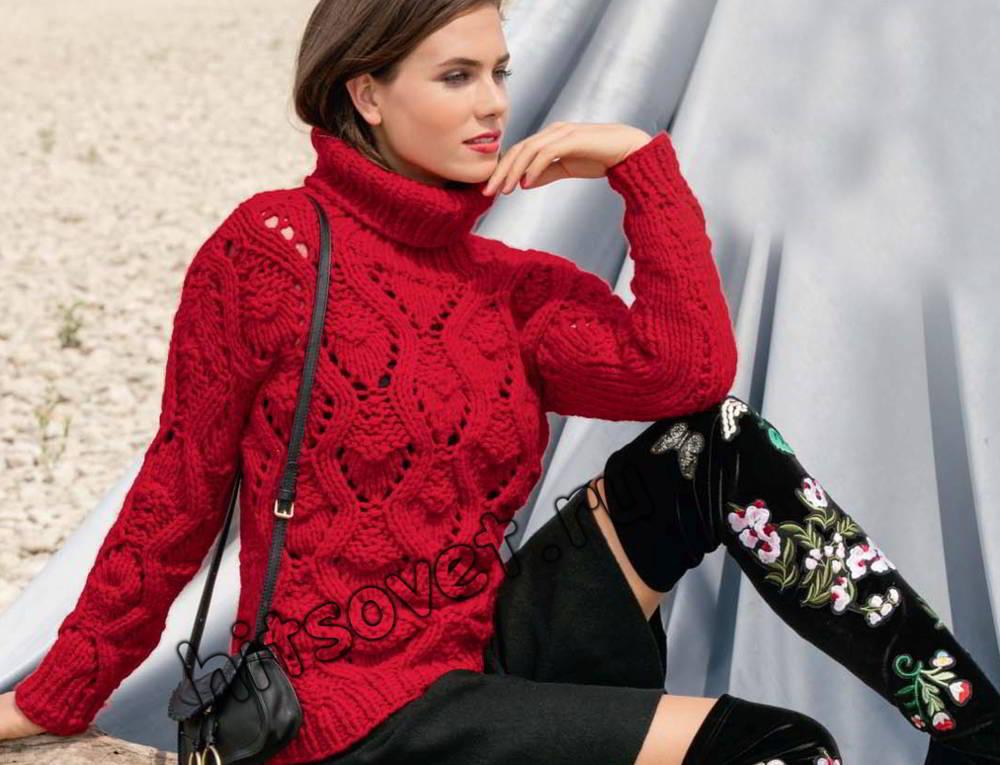 Женский свитер из толстой пряжи, фото.