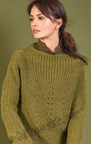 Меланжевый женский свитер, фото 2.