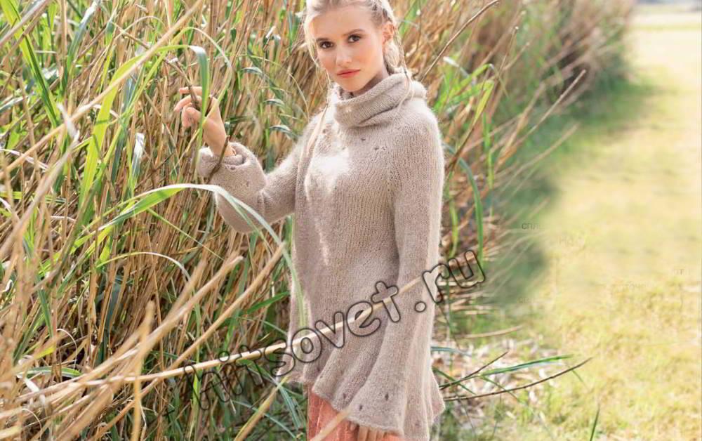 Вязаная модная туника, фото.