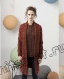 Вязаное пальто с косами, фото.