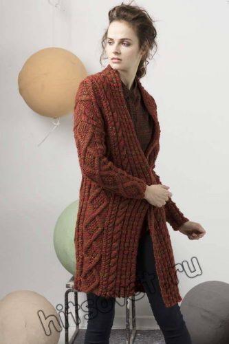 Вязаное пальто с косами, фото 2.