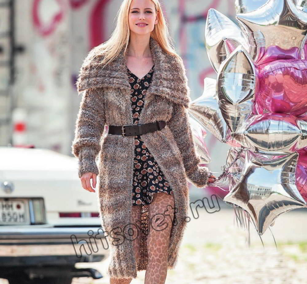Модное пальто вязаное, фото.