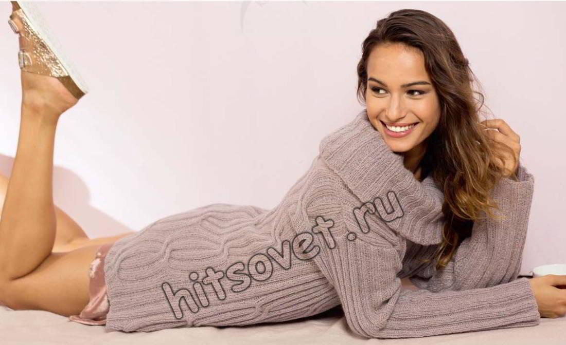 Пуловер резинкой из кос, фото.