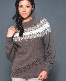 Пуловер с круглой жаккардовой кокеткой, фото.