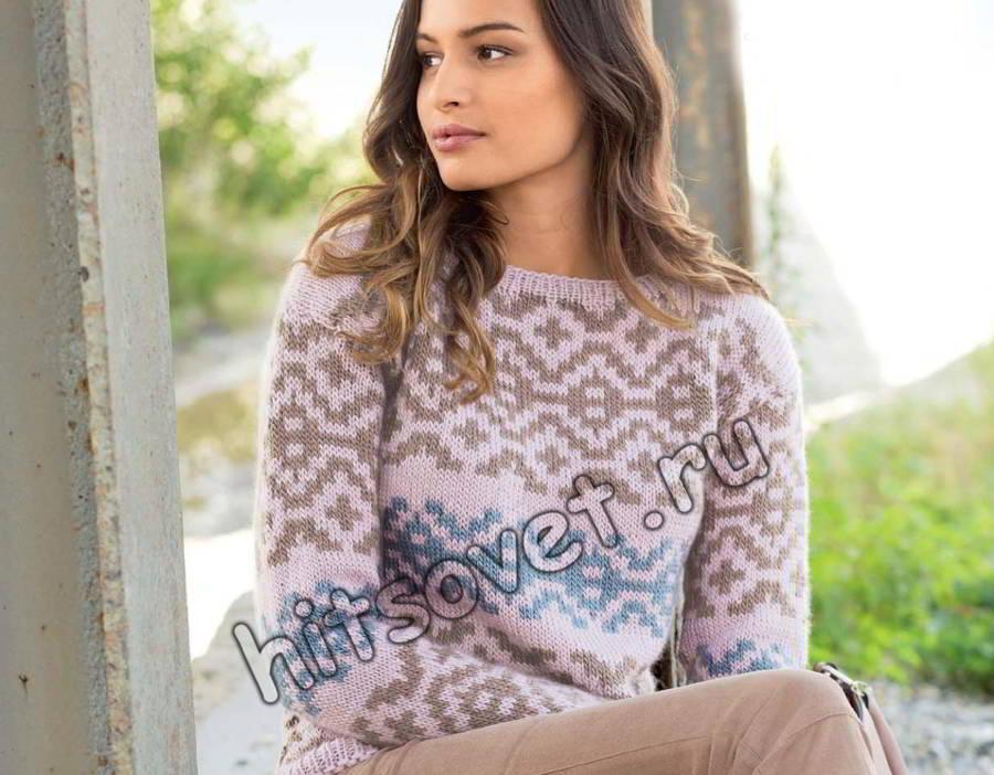 Пуловер жаккардом, фото.