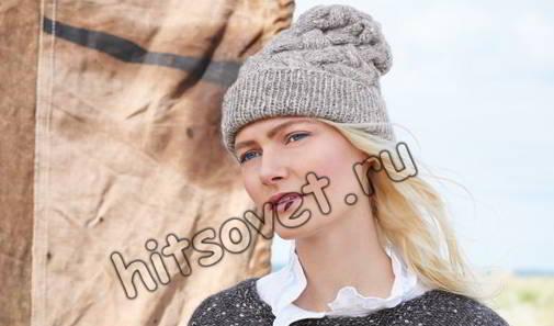 Шапка узором плетенка, фото.
