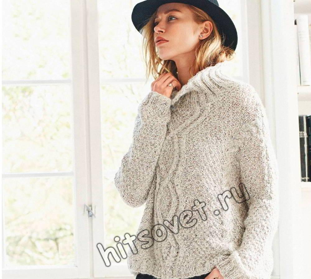 Вязание свитера модного спицами 34