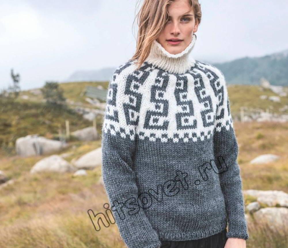 Вязание свитера с круглой кокеткой, фото.