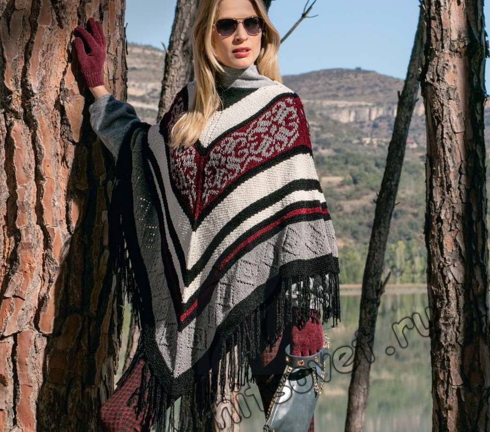 Красивое вязаное пончо, фото.