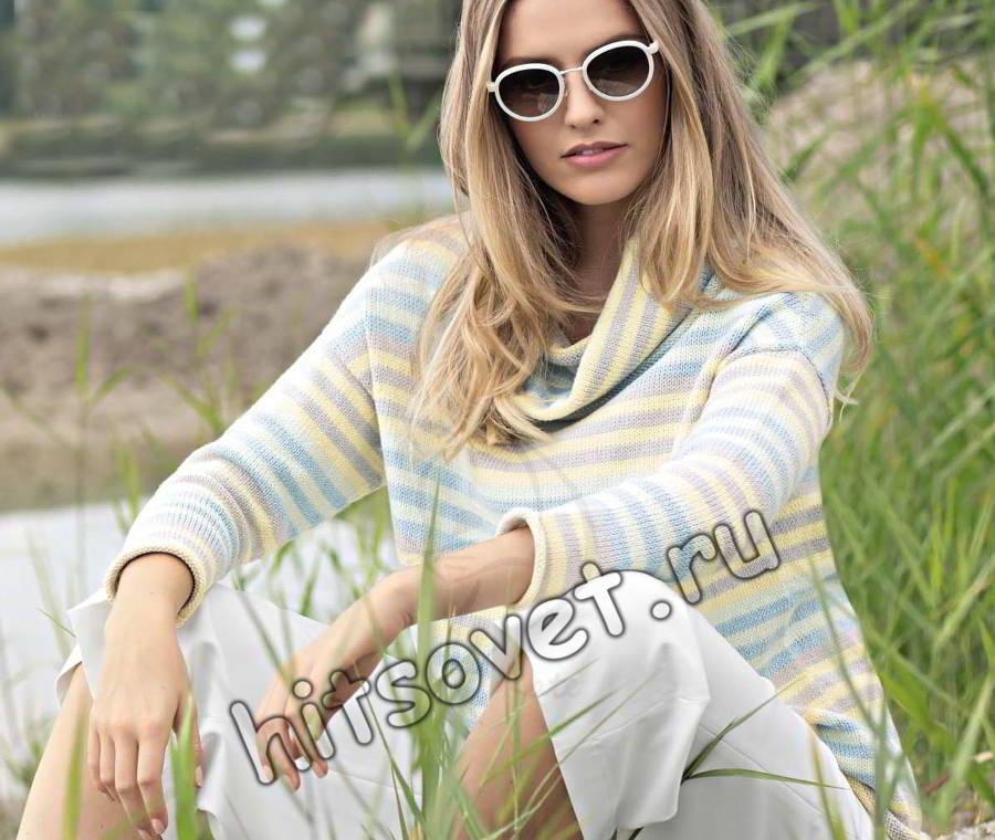 Полосатый джемпер вязание спицами, фото.
