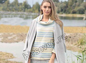 Полосатый джемпер вязание спицами, фото 2.