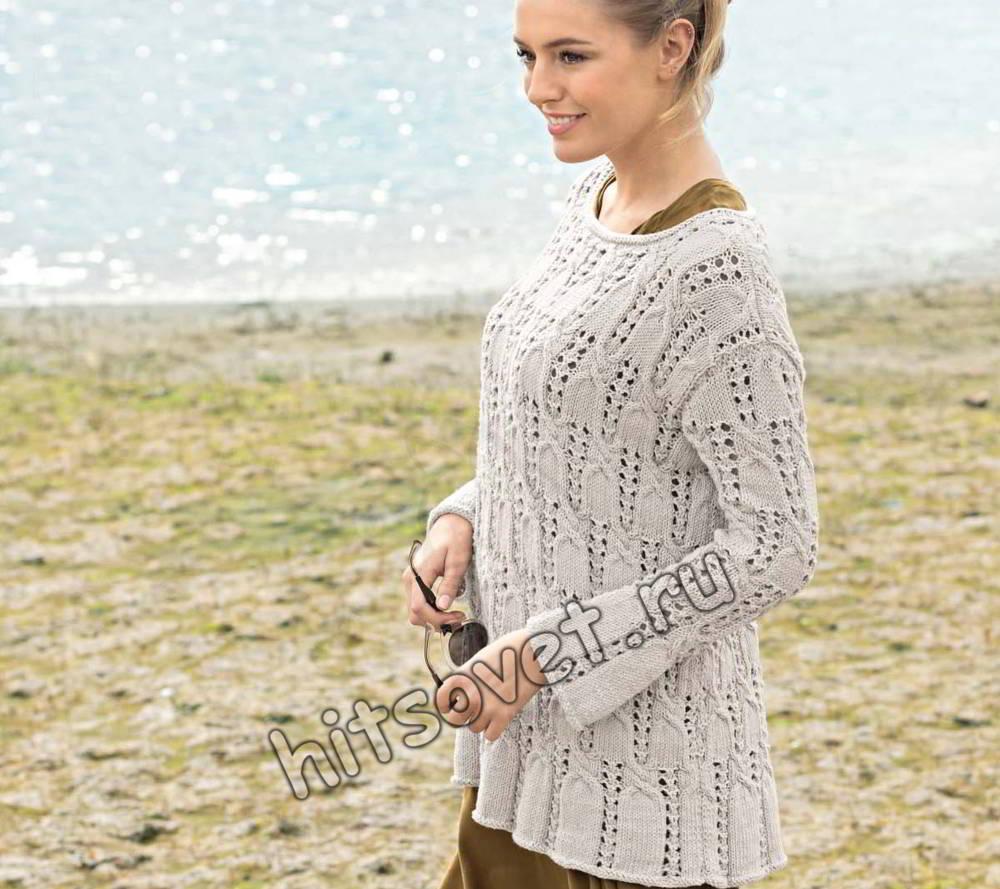 Пуловер ажурными косами
