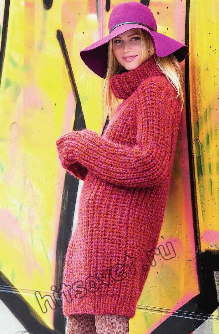 Удлиненный свитер спицами, фото.