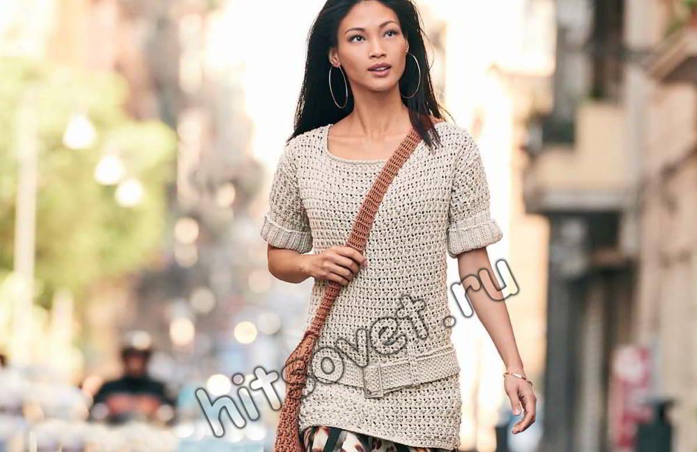 Пуловер крючком женский, фото.