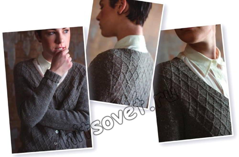 Серый кардиган вязание, фото 2.