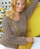 Красивый пуловер вязание, фото.