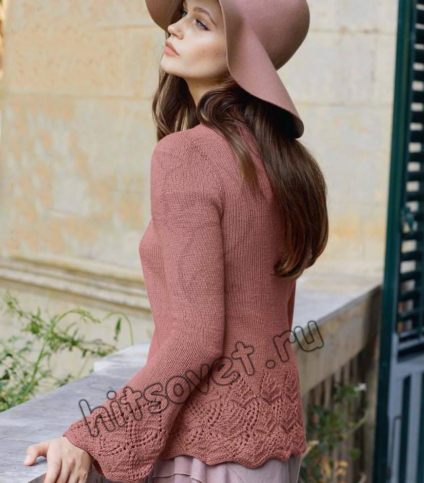 Пуловер с ажурной каймой, фото.