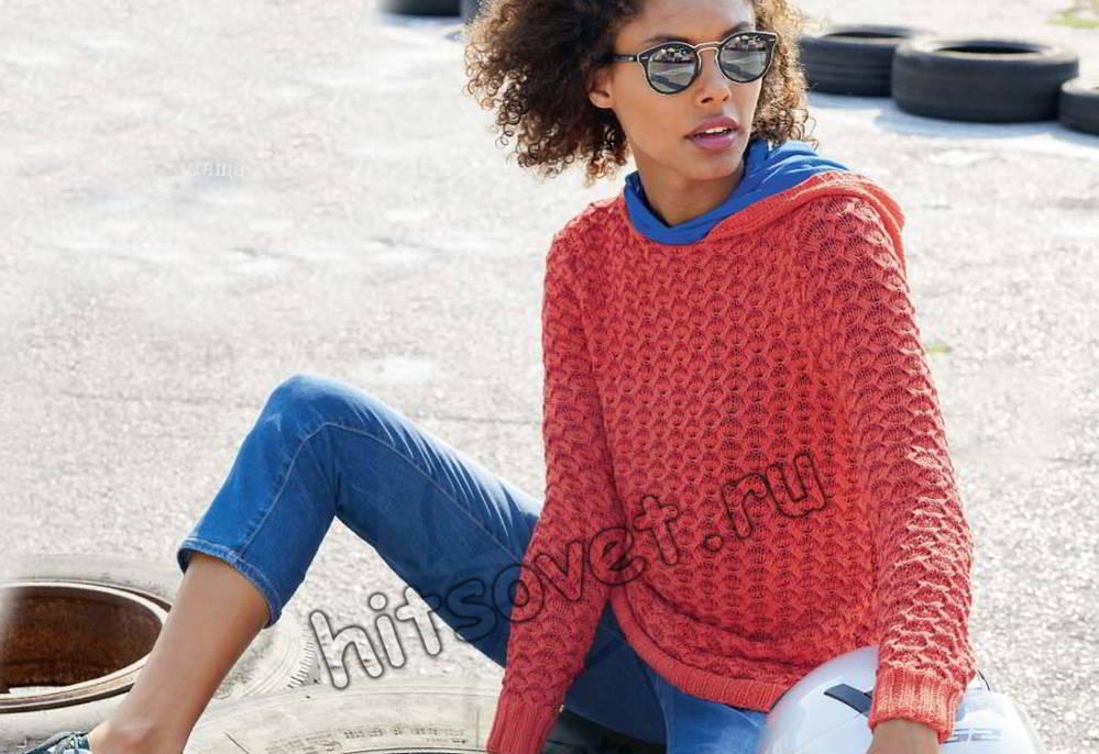 Пуловер с капюшоном, фото.