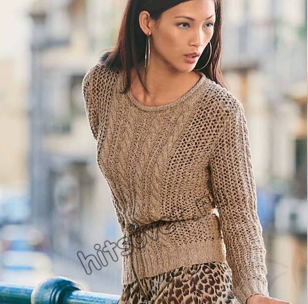Пуловер сетчатым узором, фото.