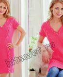Розовое платье спицами, фото.