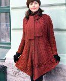 Вязаное пальто пончо, фото.