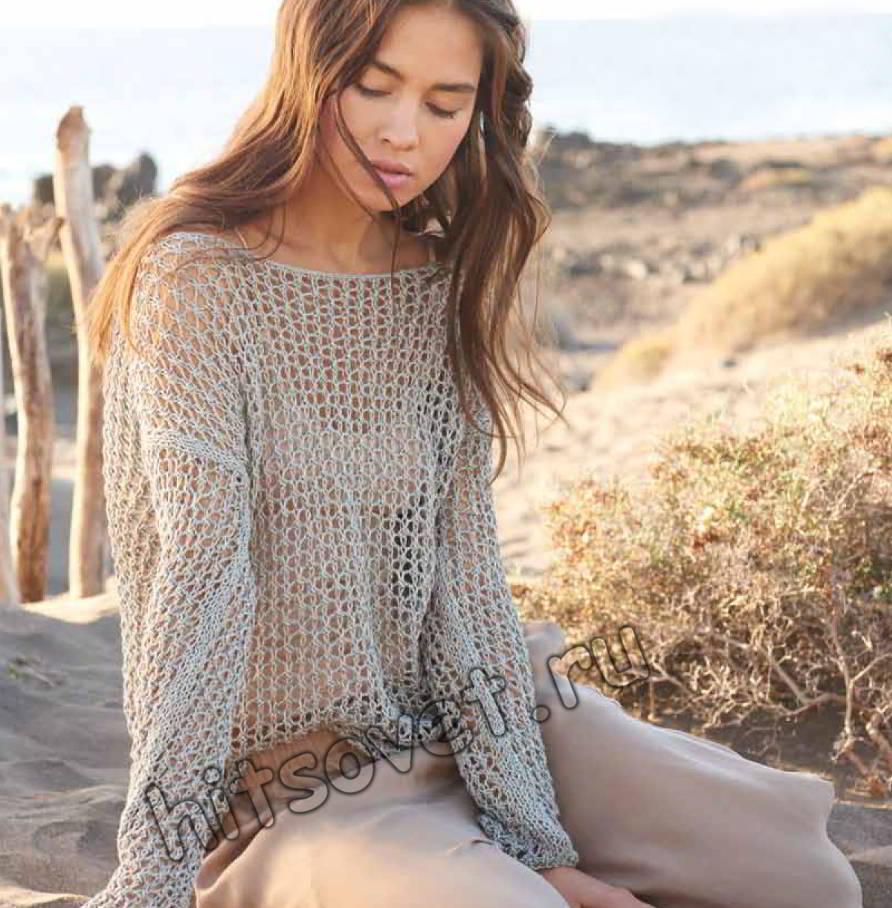 Пуловер сетчатый, фото.