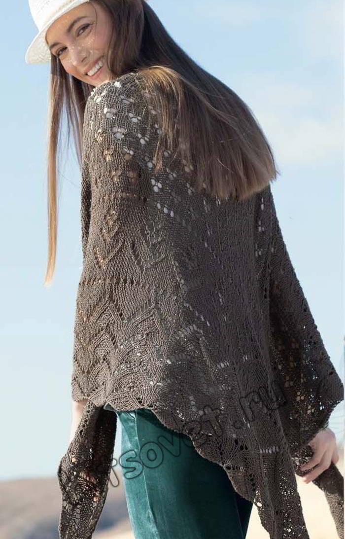Треугольный платок спицами, фото.