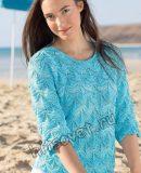 Пуловер рельефным узором, фото.
