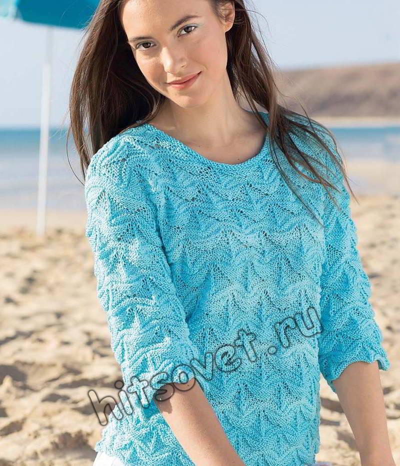 Пуловер рельефным узором