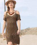 Вязаное платье на бретелях, фото.