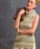 Безрукавка с воротником спицами, фото.