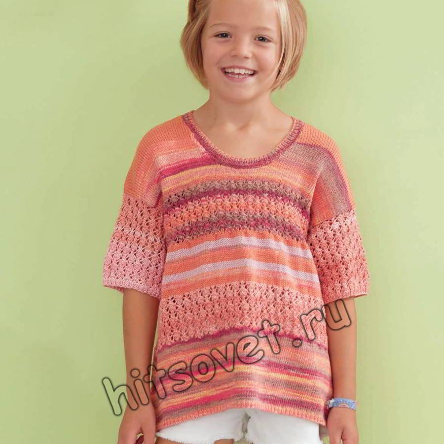 Меланжевая кофточка для девочки, фото.