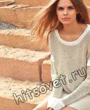 Модный вязаный пуловер, фото.
