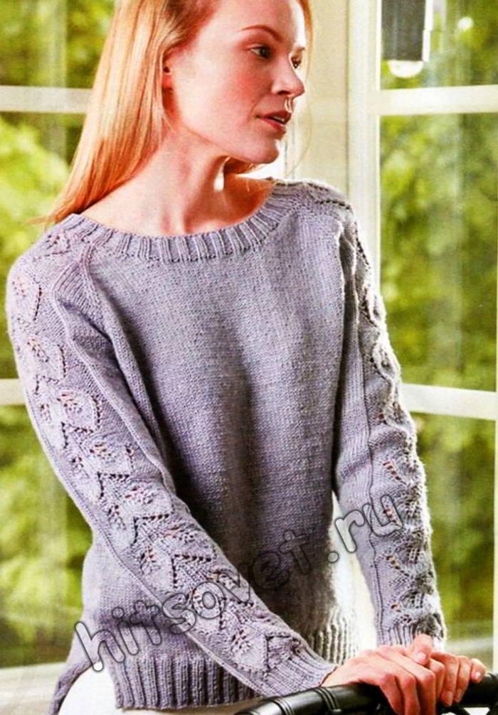 Пуловер реглан с ажурными рукавами, фото.