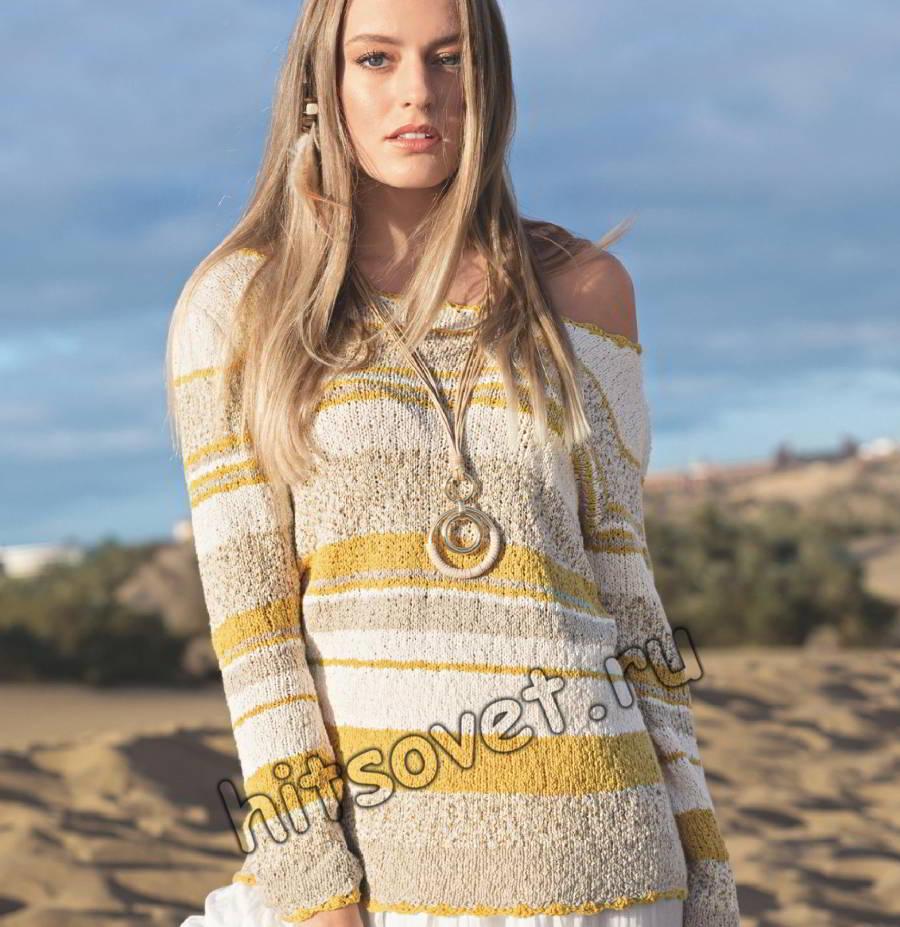 Пуловер с широкой горловиной, фото.