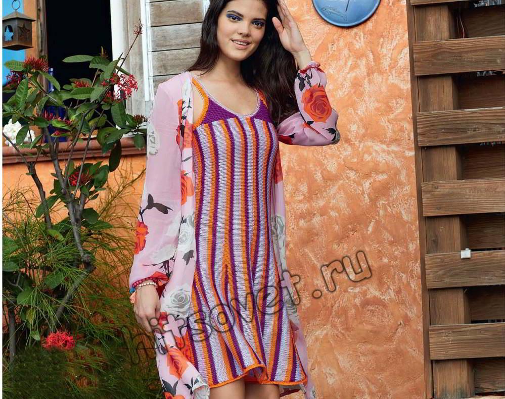 Вязаное платье поперек, фото.