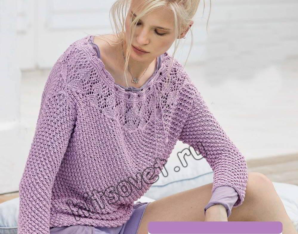 Пуловер с ажурной кокеткой, фото.