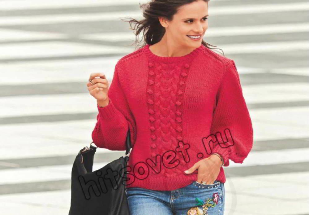 Пуловер с рукавами баллон, фото.