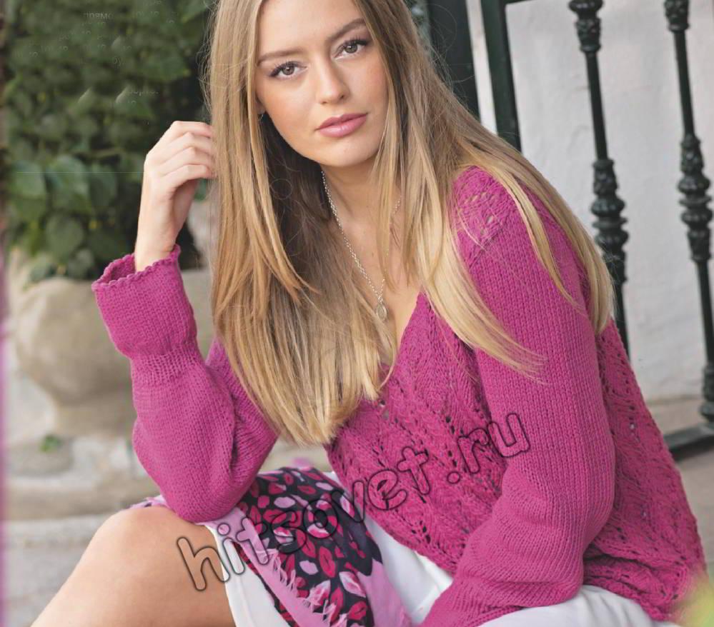 Розовый ажурный пуловер, фото.