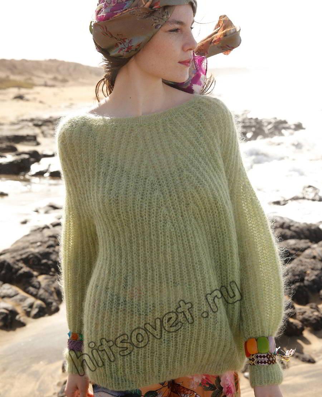 Широкий пуловер патентной резинкой, фото.