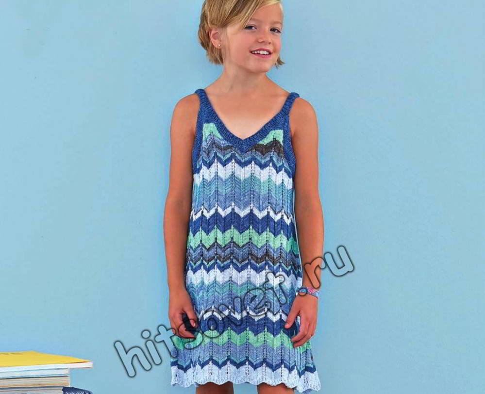 Вязание спицами платья для девочки