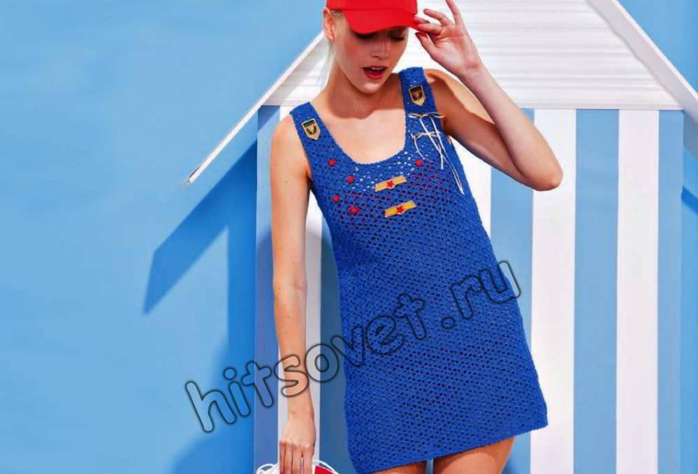 Короткое платье крючком, фото.